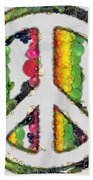 Peace Sign Fruits And Vegetables Bath Towel