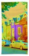 Peaceful Painted Pastel Rowhouses Printemps Plateau Montreal Scene Du Rue Carole Spandau Bath Towel