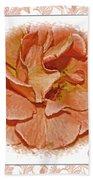 Peach Rose Sqrare Digital Paint Bath Towel