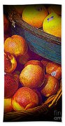 Peaches And Citrus With Blue Wooden Basket Bath Towel