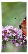 Peacock Butterfly  Inachis Io  On Buddleia Bath Towel