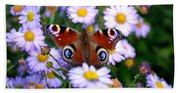 Peacock Butterfly Perched On The Daisies Bath Towel