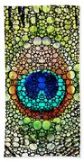 Peacock Feather - Stone Rock'd Art By Sharon Cummings Hand Towel