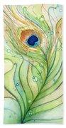 Peacock Feather Watercolor Bath Towel