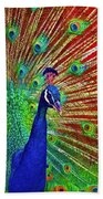 Peacock In Front Of Red Barn Hand Towel