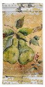 Pears And Dragonfly On Vintage Tin Bath Towel