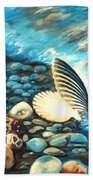 Pebble Beach And Shells Bath Towel