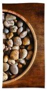 Pebbles In Wood Bowl Bath Towel
