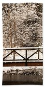 Pedestrian Bridge In The Snow Bath Towel
