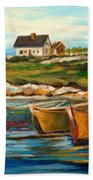 Peggys Cove With Fishing Boats Bath Towel