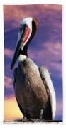Pelican At Sunset Bath Towel