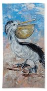 Pelican Beach Walk - Impressionist Bath Towel