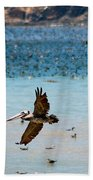 Pelicans Flocking On The Ocean Bath Towel