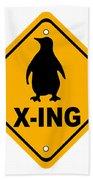 Penguin Crossing Sign Bath Towel