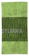 Pennsylvania Word Art State Map On Canvas Bath Towel by Design Turnpike