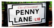 Penny Lane Sign City Of Liverpool England  Hand Towel