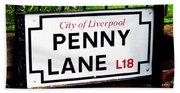 Penny Lane Sign City Of Liverpool England  Bath Towel