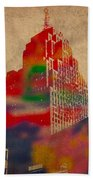 Penobscot Building Iconic Buildings Of Detroit Watercolor On Worn Canvas Series Number 5 Bath Towel