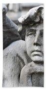 Pensive Angel Detail Monumental Cemetery Milan Italy Bath Towel