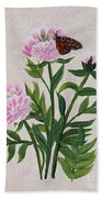 Peonies And Monarch Butterfly Bath Towel