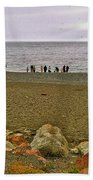 People Lined Up To Catch Capelin On The Shore Of Middle Cove-nl Bath Towel