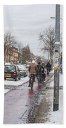 People On Bicycles In Winter Hand Towel