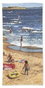 people on Bournemouth beach Blue Sea Bath Towel