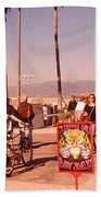 People Walking On The Sidewalk, Venice Bath Towel