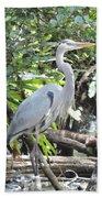 Perching Blue Heron Bath Towel