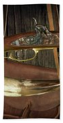 Percussion Cap And Ball Rifle With Powder Horn And Possibles Bag Hand Towel