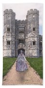 Period Lady In Front Of A Castle Bath Towel
