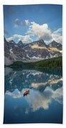 Person In Canoe On Moraine Lake, Banff Bath Towel