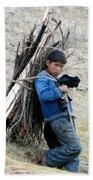 Peruvian Boy Gathers Wood Bath Towel