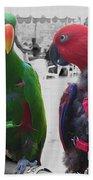 Pet Parrots In A Cafe Bath Towel