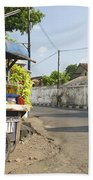Petrol Stall And Cyclo Taxi In Solo City Indonesia Bath Towel