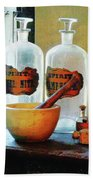 Pharmacist - Mortar And Pestle With Bottles Bath Towel