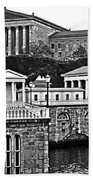 Philadelphia Art Museum At The Water Works In Black And White Bath Towel
