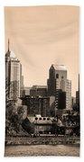 Philadelphia Cityscape In Sepia Bath Towel