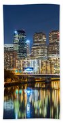 Philadelphia Cityscape Panorama By Night Bath Towel