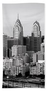 Philadelphia Skyline Black And White Bw Pano Bath Towel