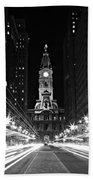 Philadephia City Hall -- Black And White Bath Towel