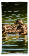 Photography Painting Of Mother And Her Ducklings Bath Towel