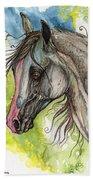 Piber Polish Arabian Horse Watercolor Painting 3 Bath Towel