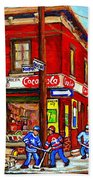 Piche's Grocery Store Bridge Street And Forfar Goosevillage Montreal Memories By Carole Spandau Hand Towel