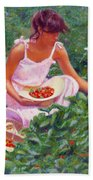 Picking Strawberries Bath Towel