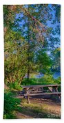Picnic By The Methow River Bath Towel