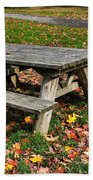 Picnic Table In Autumn Bath Towel