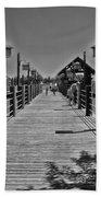 Pier At Fort Wilderness In Black And White Walt Disney World Bath Towel