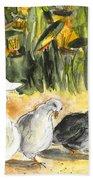 Pigeons In Benidorm Bath Towel