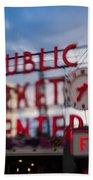 Pike Place Public Market Neon Sign Bath Towel